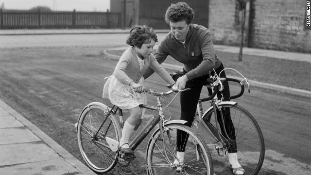 British cyclist Beryl Burton beat all competitors, including men, in a 12-hour continuous cycle race in Otley, West Yorkshire, in 1967. Mother and daughter, pictured in 1963, later raced together in the 1972 world championships. 