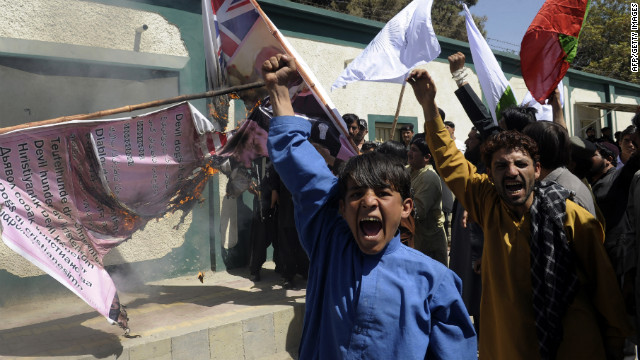 Pakistani Muslim demonstrators shout anti-US slogans during a protest against an anti-Islam film in Quetta on September 24, 2012.