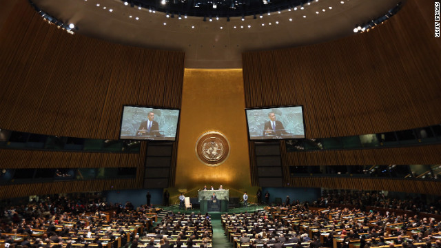 U.S. President Barack Obama addresses the United Nations General Assembly on Tuesday, September 25, in New York. 