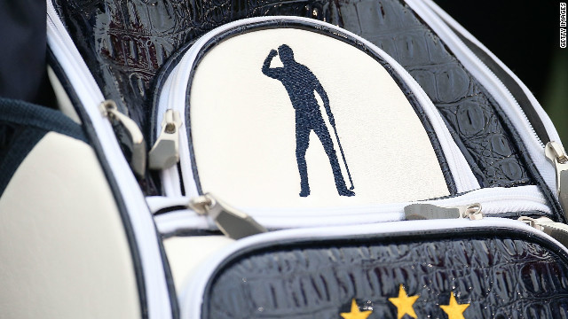 The special logo of Seve Ballesteros has been emblazoned on the golf bags of the European Ryder Cup team at Medinah