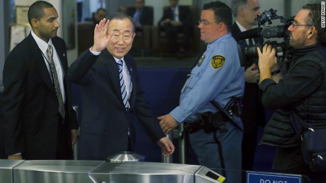 U.N. General Secretary Ban Ki-moon, second left, arrives on Tuesday.