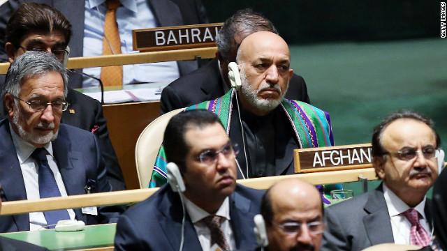 Afghan President Hamid Karzai attends Tuesday's speeches.