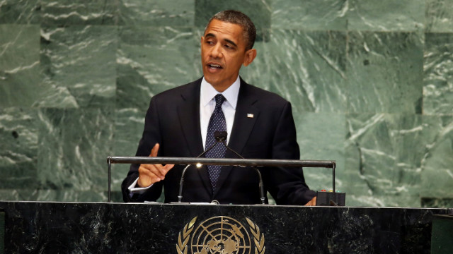 U.S. President Barack Obama speaks at the assembly on Tuesday.