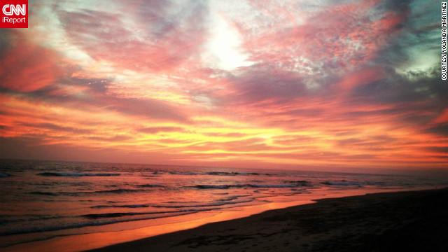 The first autumn sunset on Huntington Beach, California, filled Yolanda Martinez with a sense of joy, and a desire to share the beauty with the world. She <a href='http://ireport.cnn.com/docs/DOC-847515'>shot this photo</a> with her iPhone.