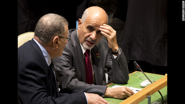 The president of Libya's parliament, Mohamed al-Magariaf, attends Tuesday's speeches.