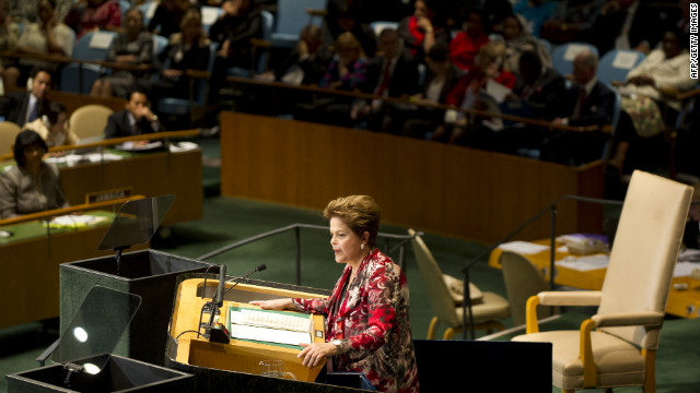 Brazil President Dilma Vana Rousseff delivers her address to the General Assembly.