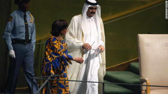 Sheikh Hamad bin Khalifa Al-Thani, emir of Qatar, arrives to address the U.N. General Assembly on Tuesday.