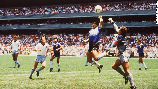 Argentina's Diego Maradona illegally touched the ball with his hand while scoring a goal against England in soccer's 1986 World Cup tournament. It became known as the &quot;Hand of God&quot; after Maradona credited divine intervention for the dubious goal. 