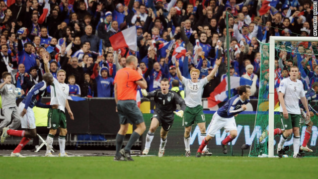 In a 2009 qualifying match for the 2010 World Cup, French striker Thierry Henry got away with touching the ball with his hand  twice  before teammate William Gallas scored the winning goal against Ireland, knocking the Irish out of the competition.