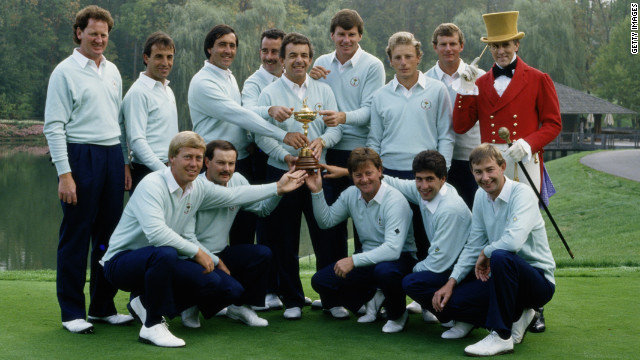 Tony Jacklin's European team defeated the Americans 15-13 to clinch victory at Muirfield Village that year.