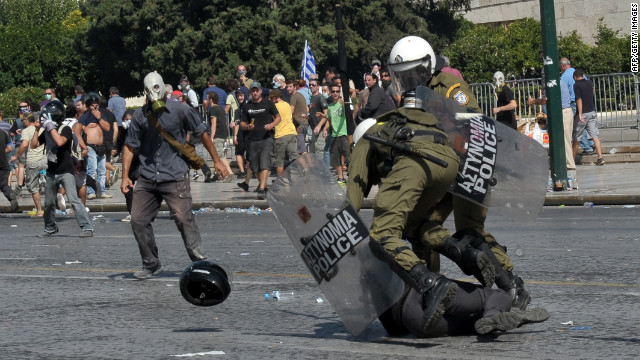 Police clash with demonstrators on Wednesday.