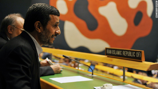 Mahmoud Ahmadinejad, president of Iran, takes a seat with his delegation during the 67th session of the United Nations General Assembly on Wednesday, September 26, in New York. The event gathers more than 100 heads of state and government for high-level meetings on nuclear safety, regional conflicts, health and nutrition, and environment issues.