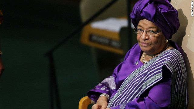 President of the Republic of Liberia Ellen Johnson-Sirleaf sits after addressing world leaders on Wednesday.