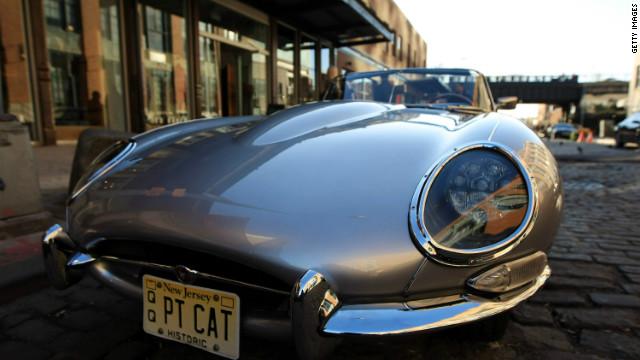 A 1961 Series 1 E-Type on display at Jaguar's celebration of its sporting past and future, at the New York Auto Show, April 4, 2012 in New York City.