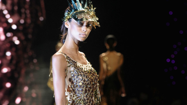 """Gavin Rajah veered between pearl and sequin encrusted, bias-cut dresses in silk and lace featuring cherry blossom and cameo motifs and rude girl drop-crotch tracksuits in pinks, golds and creams,"" says Jennings."