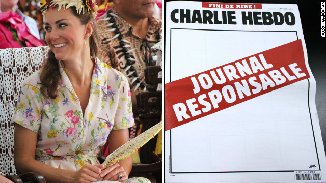 Pictured is Catherine, UK's Duchess of Cambridge, and a blank cover of Charlie Hebdo with