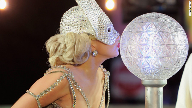 Lady Gaga prepares to kick off the Times Square ball drop at New Year's Eve 2012 in New York City.