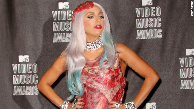 Lady Gaga dons the infamous meat dress at the 2010 MTV Video Music Awards.