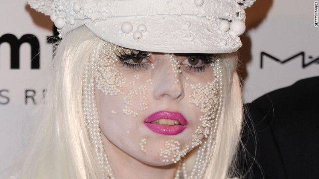 With pearls scattered among her outfit and face, Lady Gaga attends the Fall 2010 Fashion Week.