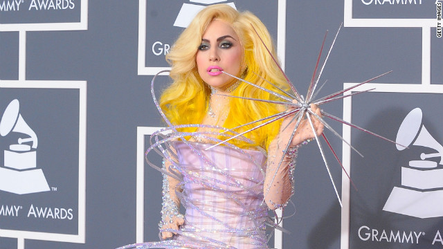 Lady Gaga arrives at the 52nd annual Grammy Awards in a hula hoop inspired creation.
