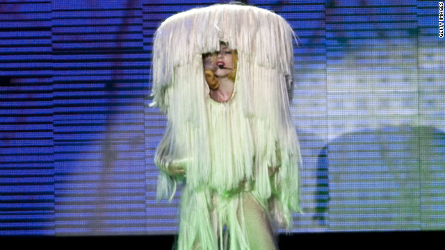 While performing in Paris in 2010, Lady Gaga's green and white attire resembled that of a character from the Muppets.