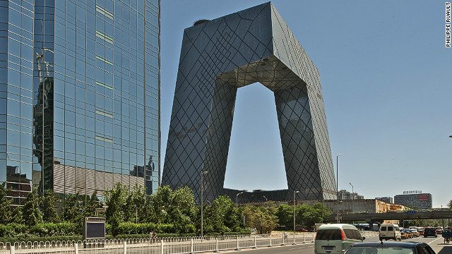"The CCTV building in Beijing, China, designed by Rem Koolhaas and German architect Ole Scheeren took 10 years to complete. It is known locally as ""The Big Pants."""