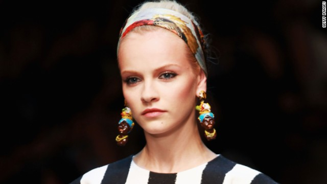 "The Italian fashion house Dolce &amp; Gabbana faced allegations of racism in 2012 for earrings that some people thought portrayed racist stereotypes. An article on D&amp;G's website <a href='http://www.swide.com/art-culture/exhibition/caltagirone-ceramics-in-ss-2013-women-fashion-show-dolcegabbana-collection/2012/09/23' target='_blank'>Swide.com</a> explained that the earrings were inspired by Moorish features and that ""Moorish is a term used to define many peoples throughout history."""