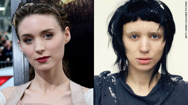 "When she landed the part of Lisbeth Salander in 2011's ""The Girl With the Dragon Tattoo,"" fresh-faced <a href='http://marquee.blogs.cnn.com/2011/01/13/rooney-mara-goes-goth-for-dragon-tattoo-role/?iref=allsearch'>Rooney Mara got</a> a severe haircut in an inky hue, bleached her brows and pierced her nose, lip, eyebrow and nipple."