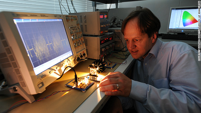 Harald Haas says that the light spectrum can be used to transmit data and has far more capacity than traditional radio waves