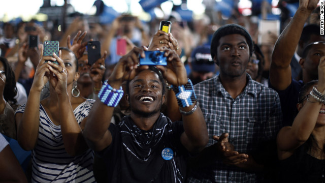 Obama supporters cheer at a campaign rally Thursday in Virginia Beach, Virginia. 
