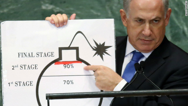 Benjamin Netanyahu, prime minister of Israel, points to a graphic of a bomb and asks U.N. leaders to draw a &quot;red line&quot; on Iran's nuclear bomb plans on Thursday.