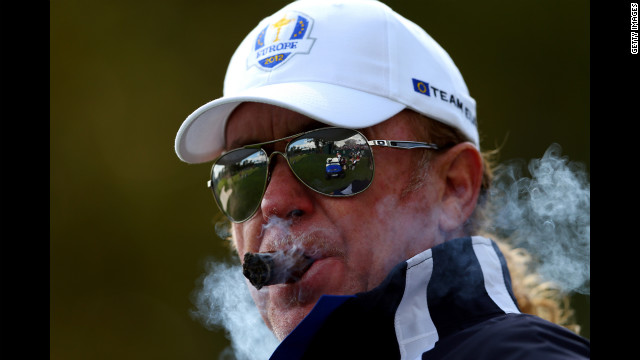 Miguel Angel Jimenez of Europe watches the play Thursday.