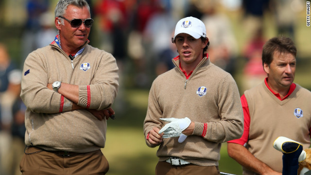McIlroy talks with vice captain Darren Clarke during the final preview day Thursday.
