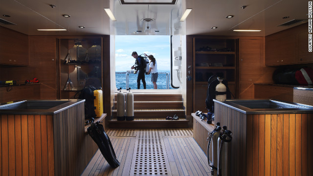 The vast array of diving equipment on board includes a machine that produces high-quality oxygen -- allowing trained guests to dive deeper, longer and safer.