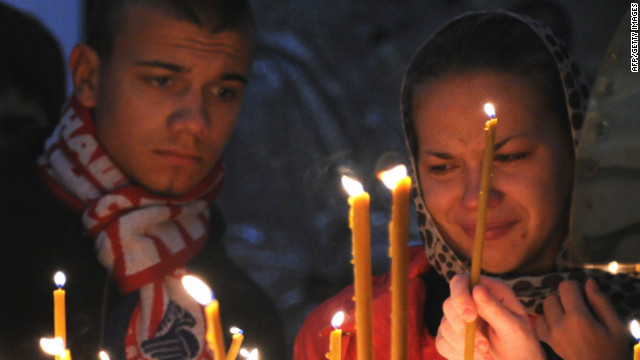 Fans lit candles and held a vigil for the Lokomotiv players who perished in the airplane crash on September 7 2011.<br/><br/>