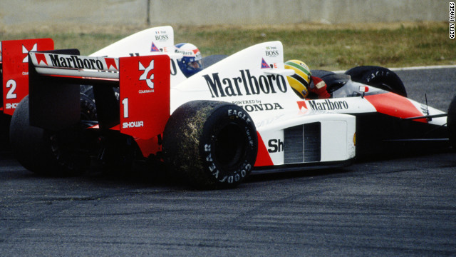 The pair clashed at the 1989 Japanese Grand Prix at Suzuka. Prost (shown driving the No.2 car here) clinched the title after Senna was controversially disqualified having gone on to win the race.