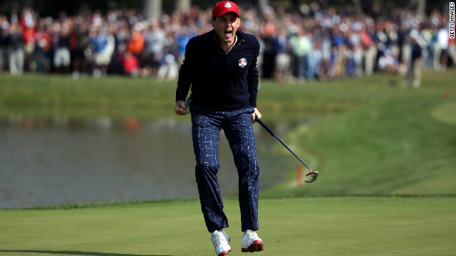 Keegan Bradley celebrates on the 15th green after he made birdie to defeat the team of Donald and Garcia during the Morning Foursome matches on Friday.