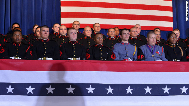 Cadets listen to Romney speak at a campaign rally Friday at the Valley Forge Military Academy and College in Wayne, Pennsylvania.