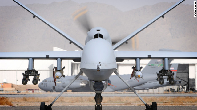 A British MQ-9 Reaper sits on a runway on March 17. Both British and American Reapers are deployed to Afghanistan.