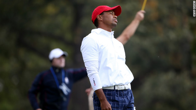 Tiger Woods of the USA reacts to a poor tee shot on the 15th hole on Friday.