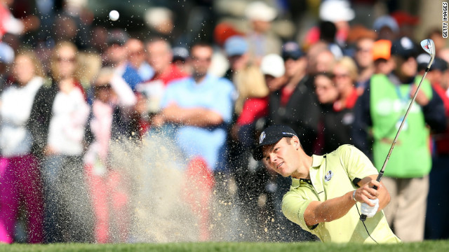 Martin Kaymer plays a bunker shot on the third hole during the afternoon four-ball matches on Friday.