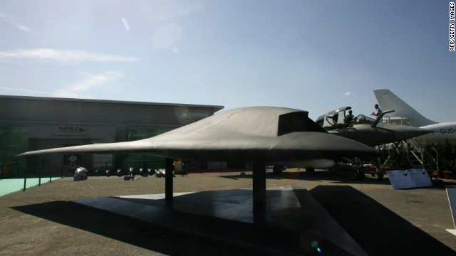 "A model of of the European ""Neuron"" UAV at the Paris Air Show in Le Bourget, France in 2005. The UAV is an European Research project led by Dassault Aviation."