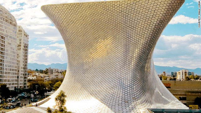 The hourglass shape of Soumaya Museum in Mexico City is completely clad in aluminium, and its seductive form houses a priceless collection of European art.