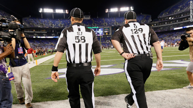 Game officials take the field before the start of the Baltimore Ravens and Cleveland Browns game on Thursday, September 27 in Baltimore, Maryland. &lt;strong&gt;&lt;a href='http://www.cnn.com/2012/09/20/football/gallery/nfl-week-3/index.html'&gt;Look back at the best of Week Three.&lt;/a&gt;&lt;/strong&gt;