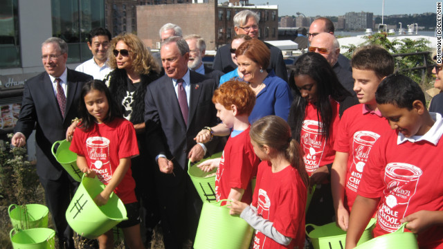 New York Mayor Michael Bloomberg meets with <a href='http://www.thehighline.org/about/friends-of-the-high-line' target='_blank'>Friends of the High Line</a> in September for a groundbreaking to develop the latest portion of the High Line.