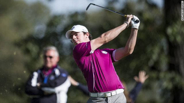 Team Europe's Rory McIlroy of Northern Ireland hits out of the eighth hole's tee box on Saturday.