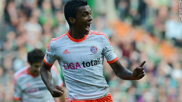 Luiz Gustavo celebrates scoring Bayern Munich's opening goal against Werder Bremen on Saturday.