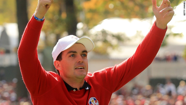 Keegan Bradley rallies U.S. fans on the first tee at the start of the day Sunday.