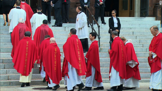 Clergy members file into the Cathedral of St. Matthew the Apostle in Washington for Sunday's Red Mass.