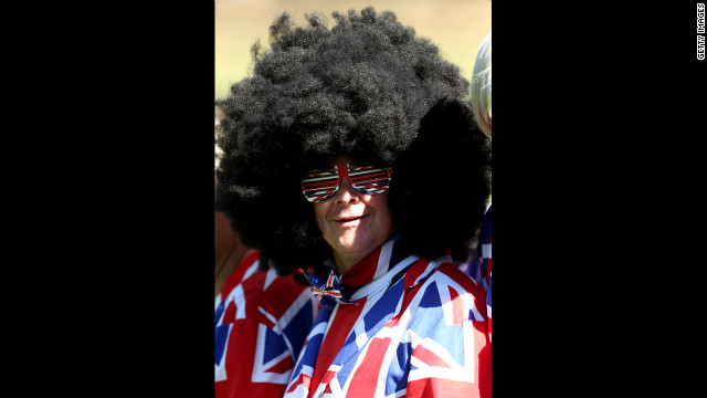 A European supporter watches the play during the singles matches on Sunday.